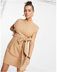 Closet Платье Мини С Завязывающимся Поясом На Талии Песочного Цвета -светло-бежевый Цвет - Естественный