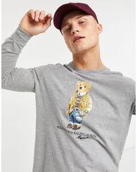 Polo Ralph Lauren Серо-лиловый Лонгслив С Принтом Медведя -серый