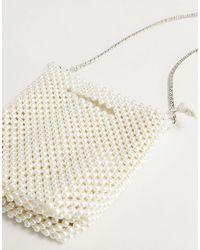Call It Spring By Aldo Perl Beaded Cross Body Bag - White