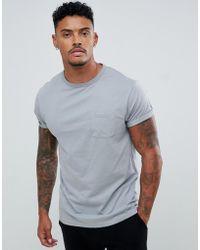 River Island - Roll Sleeve T-shirt In Ice Grey - Lyst
