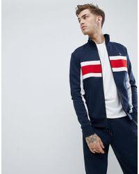 Original Penguin - Chest Block Stripe Tricot Track Jacket In Navy - Lyst