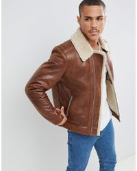Jack & Jones - Originals Faux Leather Flight Jacket With Full Teddy Lining - Lyst