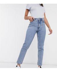 Monki Kimomo - Mom Jeans Met Hoge Taille Van Biologisch Katoen - Blauw