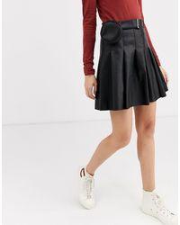ASOS Leather Look Pleat Mini Skirt With Belt Bag - Black