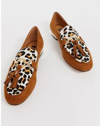 River Island Loafers With Tassel Detail In Leopard Print - Multicolor