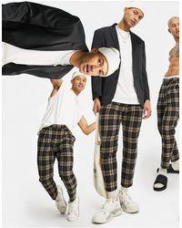 ASOS Pantalon habillé coupe fuselée en laine mélangée à carreaux oversize - Gris