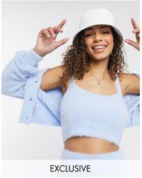 Reclaimed (vintage) Reclaimed Vitnage Inspired The Fluffy Knit Bralet Co-ord - Blue