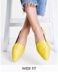 ASOS - Pointure large - Miley - Mocassins en cuir - croco - Lyst