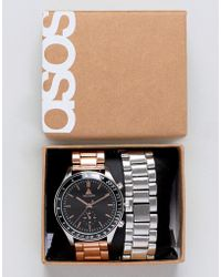 ASOS - Design Interchangeable Bracelet Watch In Brushed Silver And Rose Gold - Lyst