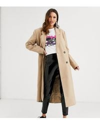 ASOS Asos Design Tall Double Breasted Longline Coat - Natural