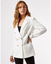 Miss Selfridge Americana militar color marfil - Blanco