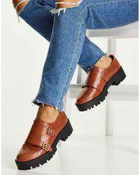 ASOS Светло-коричневые Массивные Туфли-монки С Отделкой Под Кожу Ящерицы - Коричневый