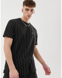 Criminal Damage Co-ord Oversized T-shirt In Black With Pin Stripe