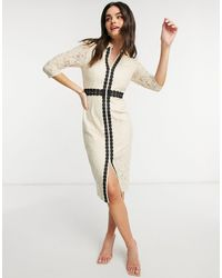 Little Mistress Lace Sleeve Midi Dress - Natural