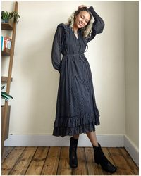AllSaints Lara - Maxi-jurk Met Lange Mouwen, Stippen En Ruches - Zwart