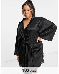 Brave Soul Plus – Kimono-Morgenmantel aus Satin - Schwarz