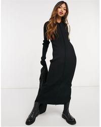 Weekday - Черное Трикотажное Платье На Молнии Riana-черный - Lyst