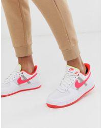 Nike Белые Кроссовки С Розовым Логотипом-галочкой Air Force 1 '07 Lv8 - Белый