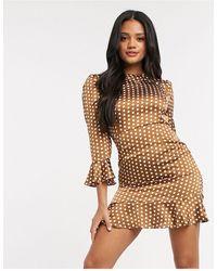 Naanaa 3/4 Sleeve Polka Satin Dress - Brown