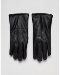 French Connection Classic Leather Gloves In Black