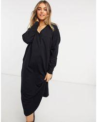 ASOS Черное Платье-свитшот Миди С V-образным Вырезом - Черный