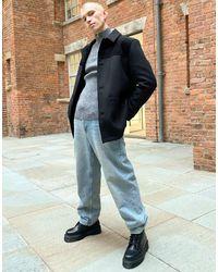 ASOS Wool Mix Overcoat With Cord Panel - Black