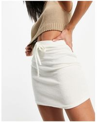 ASOS Towelling Mini Skirt With Tie Detail - White