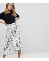 ASOS - Asos Design Petite Wrap Jacquard Midi Skirt In Mixed Floral And Polka Dot - Lyst