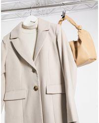 River Island Single-breasted Slim Longline Tailored Coat - Natural