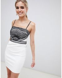 StyleStalker - Dahlia Lace Detail Mini Dress - Lyst
