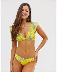 Sam Edelman Floral Plunge Front Bikini Top-yellow