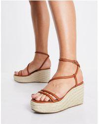 ASOS Tulip Tubular Flatform Sandals - Brown