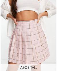 ASOS - Minifalda rosa a cuadros estilo tenista plisada - Lyst