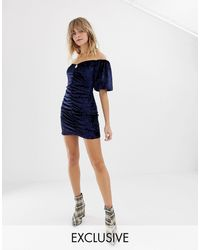 Reclaimed (vintage) Inspired Velvet Mini Dress With Ruching And Puff Sleeve - Blue