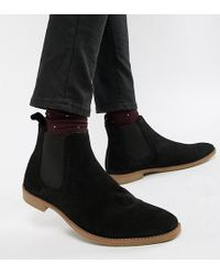 ASOS - Wide Fit Chelsea Boots In Black Suede With Natural Sole - Lyst