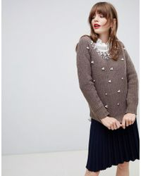 Darling - Jumper With Pearl Embellishment - Lyst