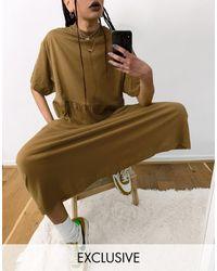 Collusion Maxi Smock Dress - Brown