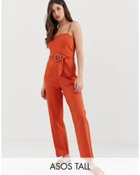 ASOS - Asos Design Tall Strappy Pinny Belted Jumpsuit - Lyst
