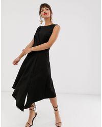 Closet Черное Платье Миди Без Рукавов -черный