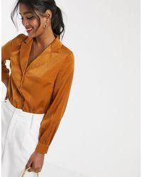 UNIQUE21 Satin Shirt Wrap Bodysuit - Yellow