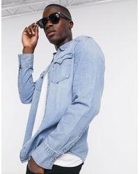 Levi's Barstow - Denim Western Overhemd Met Lange Mouwen - Blauw