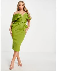 ASOS Draped Shoulder Belted Midi Dress - Green