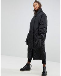 ASOS - Longline Puffer Coat With Detachable Mittens - Lyst