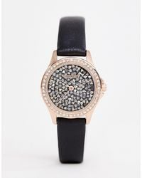 Missguided Orologio nero con cassa oro rosa e quadrante con cristalli