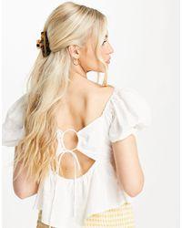 Skylar Rose Poplin Puff Sleeve Blouse With Tie Back - White