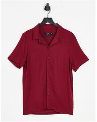 Bolongaro Trevor Slim Fit Revere Collar Short Sleeve Shirt - Red