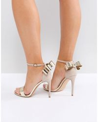 009fe5425541 Office - Harriet Gold Mix Bow Detail Heeled Sandals - Lyst