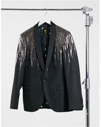 Twisted Tailor Blazer Met Zilver Dripdesign - Zwart