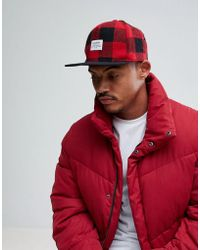 Pull&Bear Snap Back In Red Check - Green