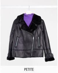 New Look Fur Trim Aviator Jacket - Black